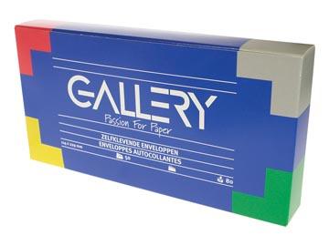 Gallery enveloppes, ft 114 x 229 mm, bande adhésive, boîte de 50 pièces