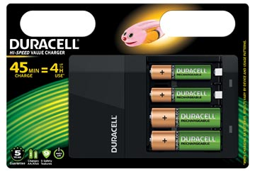 Duracell chargeur Hi-Speed Value Charger, 2 AA en 2 AAA piles inclus, sous blister