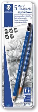 Staedtler crayon Mars Lumograph Aquarel, noir, boîte de 6 pièces en duretées assorties