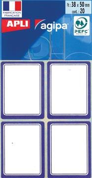 Agipa étiquettes écoliers ft 38 x 50 mm (l x h), 32 étiquettes par étui, bord bleu