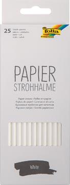 Folia pailles en papier, boîte distributrice de 25 pièces, blanc