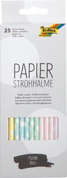 Folia pailles en papier, boîte distributrice de 25 pièces, pastel bollen