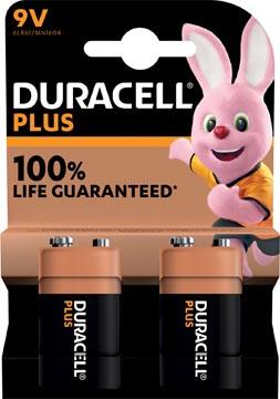 Duracell batterij Plus 100% 9V, blister de 2 pièces