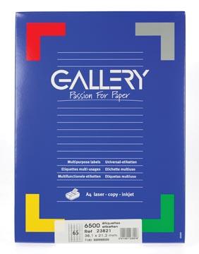 Gallery étiquettes blanches, ft 38,1 x 21,2 mm (l x h), coins arrondis, 65 par feuille