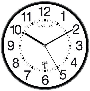 Unilux horloge Wave, radiogestuurd, diamètre 30 cm, noir/blanc