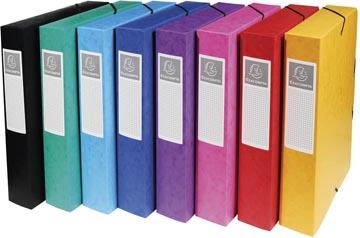 Exacompta boîte de classement Exabox 8 couleurs assorties: jaune, rouge, rose, pourpre, bleu, turquois...