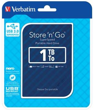 Verbatim disque dur 3.0 Store 'n' Go, 1 To, bleu rayé