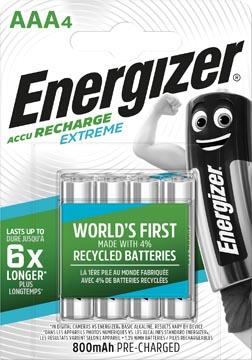 Energizer piles rechargeables Extreme AAA, blister de 4 pièces