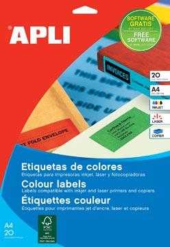 Apli étiquettes colorées ft 70 x 37 mm (l x h), vert, 480 pièces, 24 par feuille (1594)
