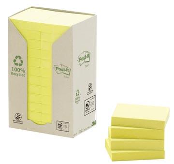Post-it Notes récyclé, ft 38 x 51 mm, jaune, 100 feuilles, pacquet de 24 blocs