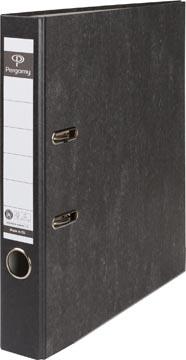 Pergamy classeur, pour ft A4, en carton, dos de 5 cm, marbré, noir