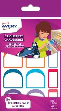 Avery Family étiquettes pour chaussures, sachet avec 24 étiquettes, formats et couleurs assorties