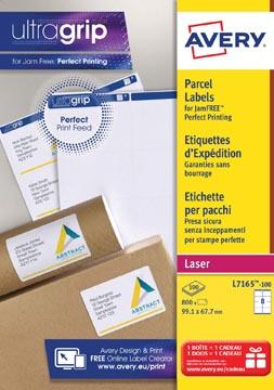 Avery L7165, Etiquettes d'expédition, Laser, Ultragrip, blanches, 100 pages, 8 per page, 99,1 x 67,7 mm