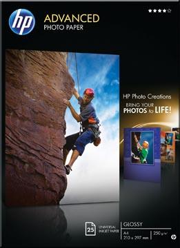 HP Advanced papier photo, ft A4, 250 g, paquet de 25 feuilles, brillant